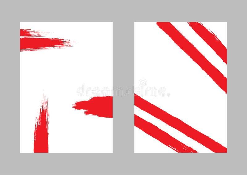 Stellen Sie von den vertikalen Aquarellschablonen ein Rote Pinselanschläge auf weißem Hintergrund Schmutz, Farbe, Skizze lizenzfreie abbildung