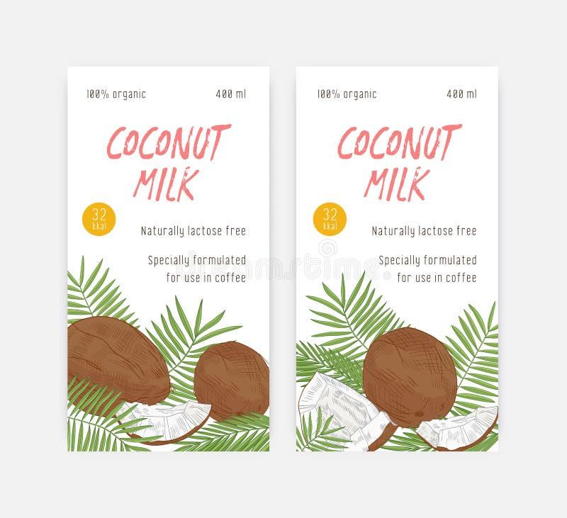 Stellen Sie von den vertikalen Fahnen- oder Aufkleberschablonen für Kokosmilch mit Kokosnüssen und Palmeblättern ein Nat?rliches  lizenzfreie abbildung