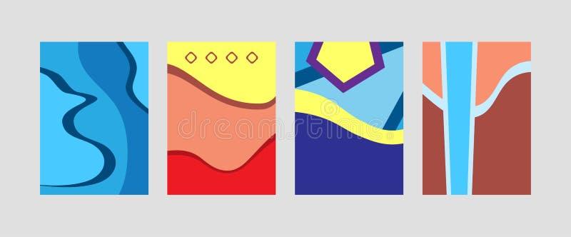 Stellen Sie von den vertikalen Schablonen für Entwurf ein Sammlung modische rechteckige Hintergründe der Zusammenfassung stock abbildung