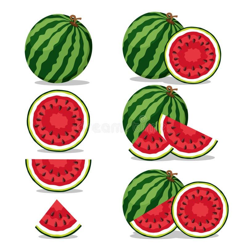 Stellen Sie von den Wassermelonen, von der Hälfte und vom Stück auf einem weißen ein stock abbildung