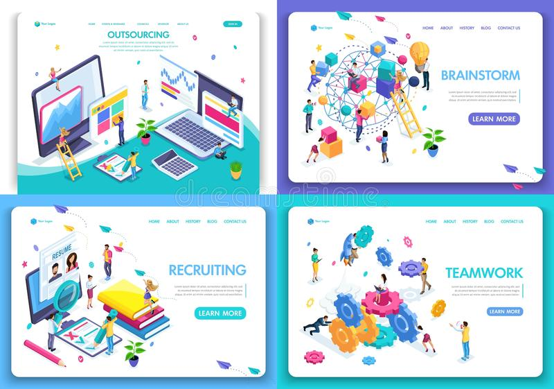 Stellen Sie von den Webseitenentwurfsschablonen für Geschäft, Geistesblitz, die Teamwork ein und einziehen, Outsourcing Vektorill stock abbildung