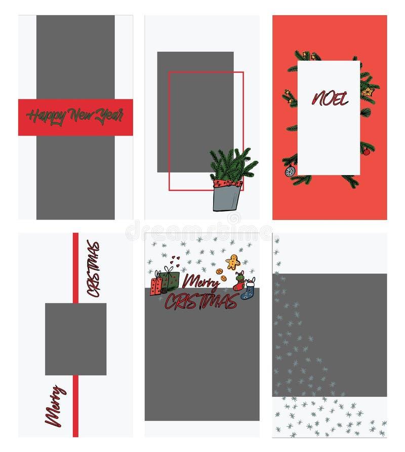 Stellen Sie von den Weihnachten-instagram Geschichtenschablonen in der Gekritzelart ein Weihnachten- und Winterurlaub photoframe  lizenzfreie abbildung