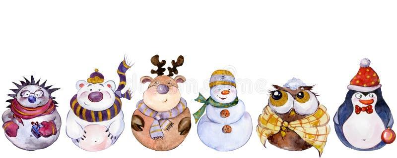 Stellen Sie von den Weihnachtscharakteren ein, die auf weißem Hintergrund lokalisiert werden lizenzfreie abbildung