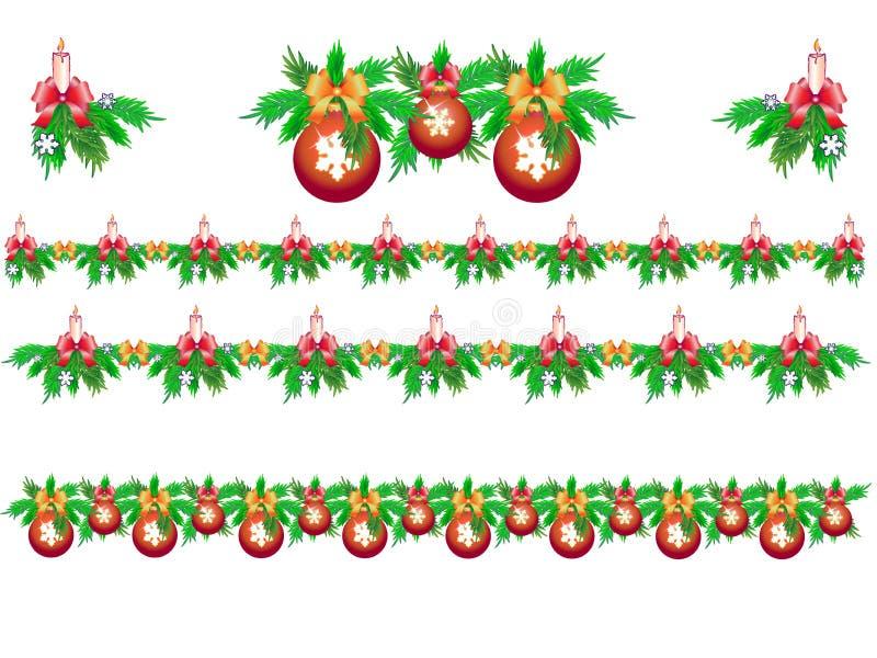 Stellen Sie von den Weihnachtsgirlanden der Tanne mit Kerzen, Schneeflocken und Weihnachtsbällen ein vektor abbildung