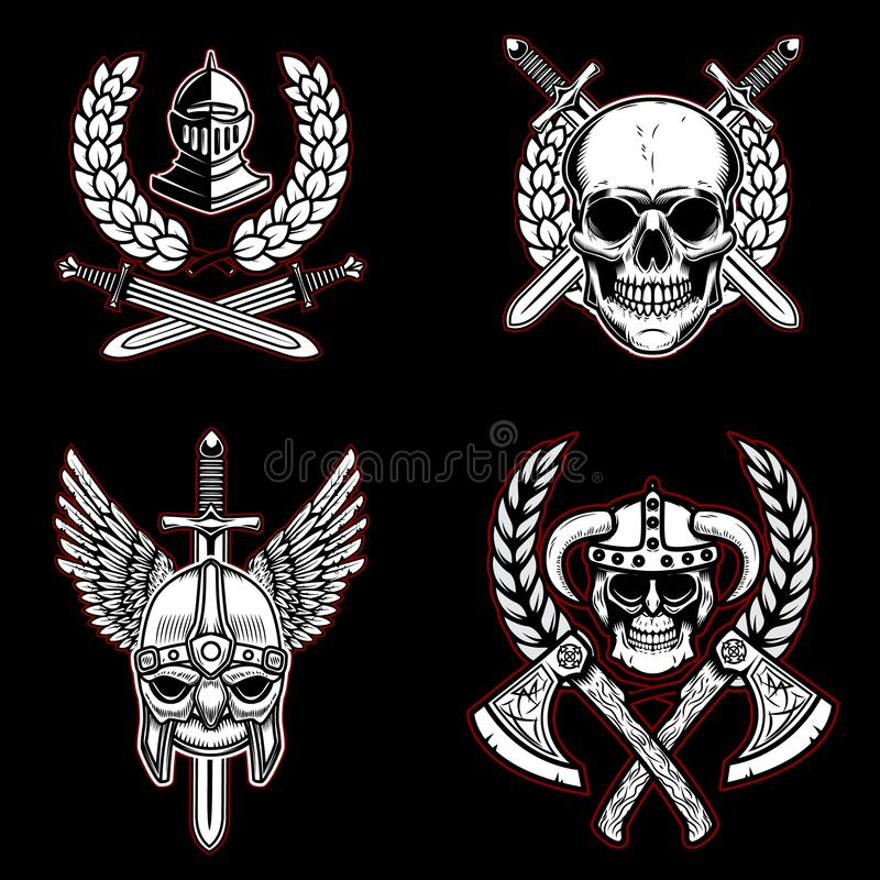 Stellen Sie von den Weinleseemblemen mit alter Waffe, Ritter, Wikinger ein Gestaltungselement für Logo, Aufkleber, Emblem, Zeiche lizenzfreie abbildung