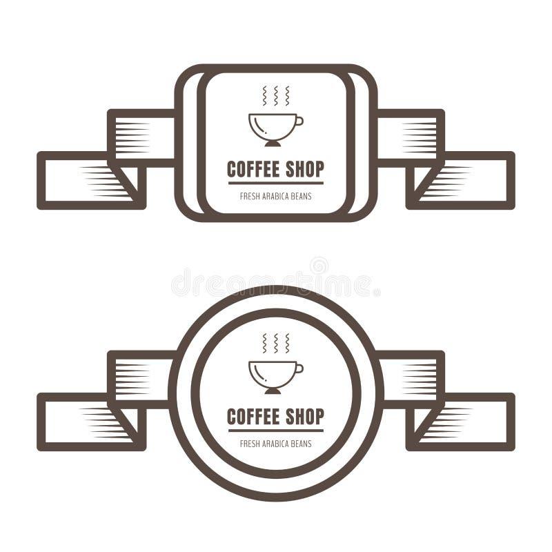 Stellen Sie von den Weinlesekaffeeausweisen und von der braunen Farbe der Aufkleber auf weißem Hintergrund ein vektor abbildung