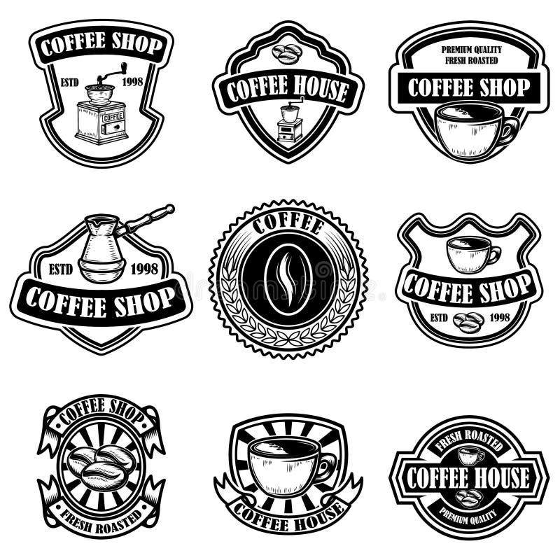 Stellen Sie von den Weinlesekaffeestubeemblemen ein Gestaltungselemente für Logo, Aufkleber, Zeichen, Ausweis stock abbildung