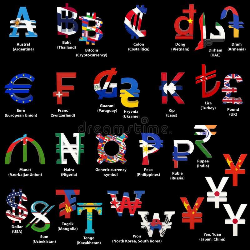 Stellen Sie von den Weltwährungszeichen mit Staatsflaggen ein Alphabet von Währungszeichen von verschiedenen Ländern Wiedergabe 3 lizenzfreie abbildung