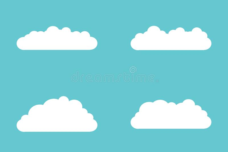 Stellen Sie von den Wolkenikonen in der flachen Art lokalisiert auf blauem Hintergrund für Ihren Websiteentwurf, Logo, App, UI ei stock abbildung