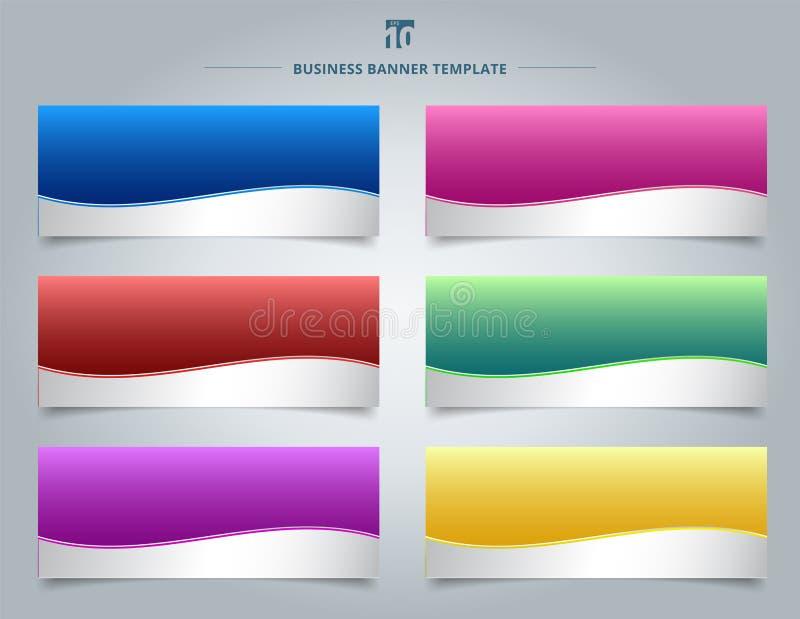 Stellen Sie von der abstrakten Streifenwelle des Schablonengeschäftsfahnenwebdesigns ein lizenzfreie abbildung