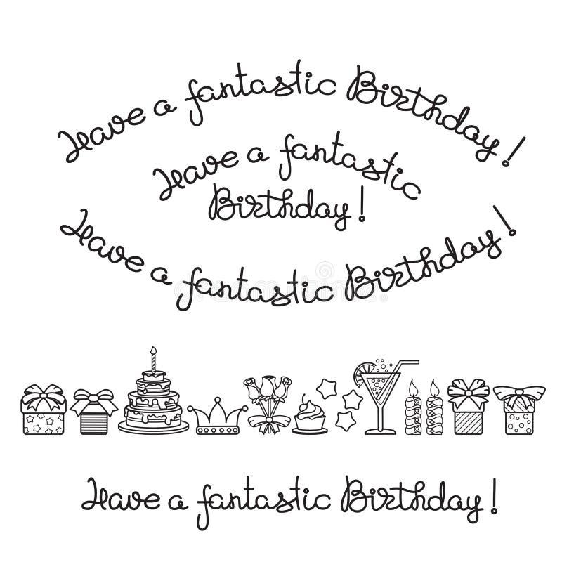 Stellen Sie von der Beschriftung und von den Ikonen für Geburtstagsfeiern ein Vektor lizenzfreie abbildung