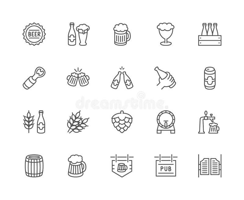 Stellen Sie von der Bier-Linie Ikonen ein Flaschenkapsel, Becher, Öffner, Weizen-Korn, Blütenzapfen des Hopfens und mehr lizenzfreie abbildung