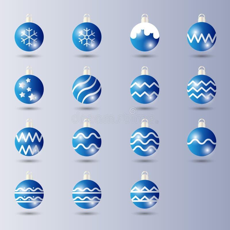 Stellen Sie von der blauen glänzenden Ball-Weihnachtsdekoration mit glattem/glühendem Effekt ein stock abbildung
