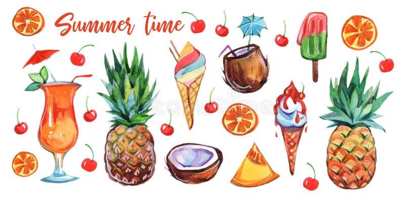 Stellen Sie von der bunten exotischen Sommernahrung auf weißem Hintergrund ein Karikaturdesign Frische Frucht Exotische Nahrung S lizenzfreie abbildung