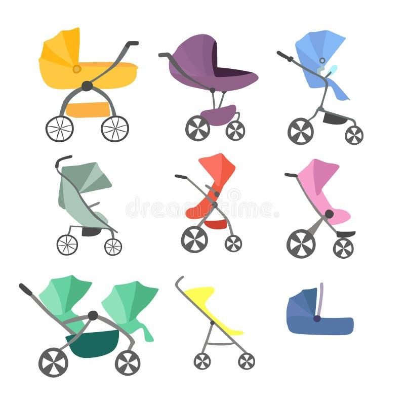 Stellen Sie von der bunten lokalisierten Vielzahl des Baby- oder Kinderwagens, Säuglingslastwagen, Perambulator ein lizenzfreie abbildung