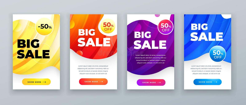 Stellen Sie von der dynamischen modernen flüssigen Verkaufsfahne für Social Media-Geschichten, Webseite, Handy ein Verkaufsfahnen stock abbildung