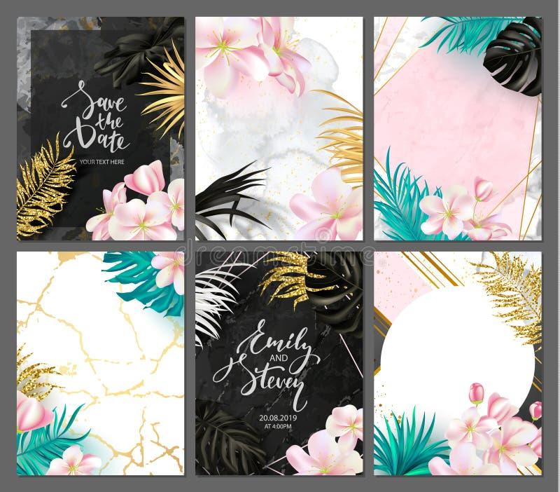 Stellen Sie von der eleganten Broschüre, Karte, Abdeckung, Einladung ein Botanischer Hintergrund mit tropischen Blättern und Blum lizenzfreie abbildung