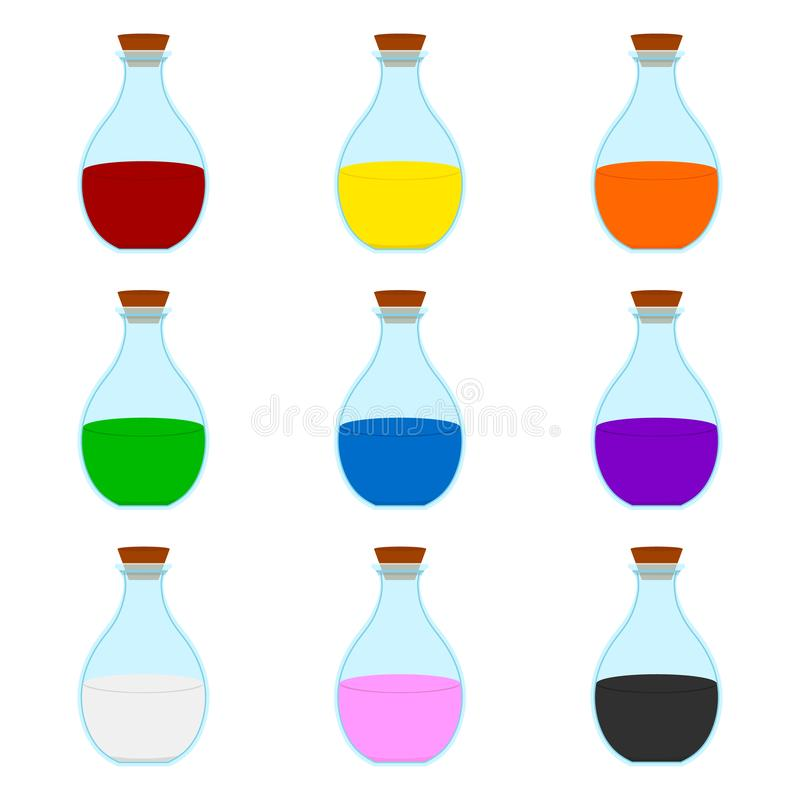 Stellen Sie von der farbigen Karikatur-Magie-Elixier-Flasche ein, die auf weißem Hintergrund lokalisiert wird Zauberer-oder Hexen stock abbildung
