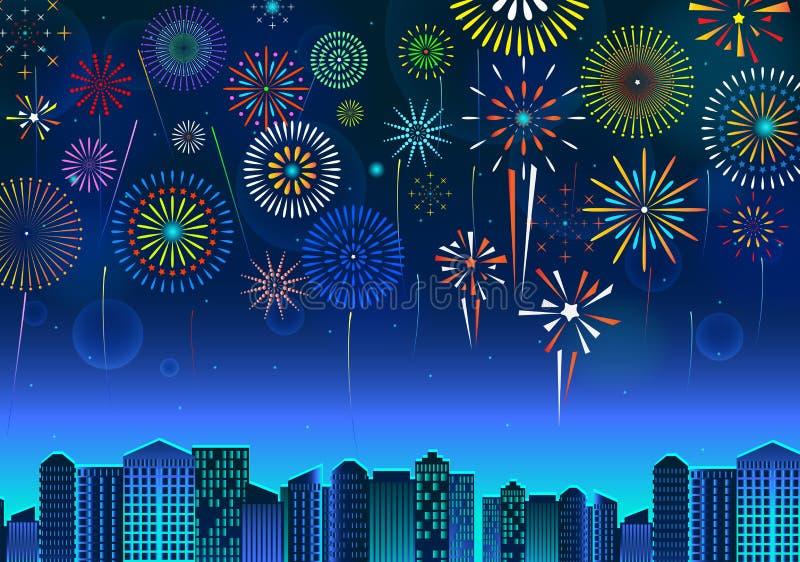 Stellen Sie von der festlichen Anzeige der Feuerwerke über dem Stadtbild, am Szenenfeiertag oder -feier des Nachtblauen Himmels e stock abbildung