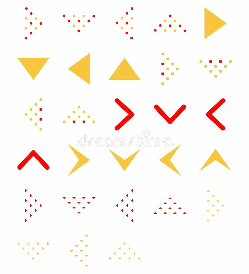 Stellen Sie von der flachen Ikone der Vektorpfeilrichtung Farbein Pfeilvektorsammlung lizenzfreie abbildung