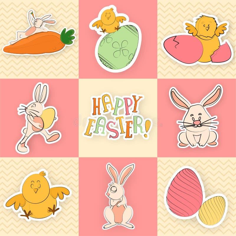Stellen Sie von der Grußkarte mit netten Zeichentrickfilm-Figuren einschließlich Häschen, Huhn, Henne und Ei für Ostern-Feier ein lizenzfreie abbildung
