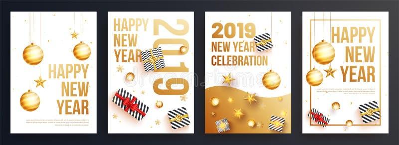 Stellen Sie von der guten Rutsch ins Neue Jahr-Schablone oder vom Fliegerentwurf für Parteicer 2019 ein lizenzfreie abbildung