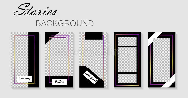 Stellen Sie von der instagram Geschichtenschablone ein Entwurfhintergründe für Social Media Plan, Abdeckung Schabloneen für Gesch lizenzfreie abbildung