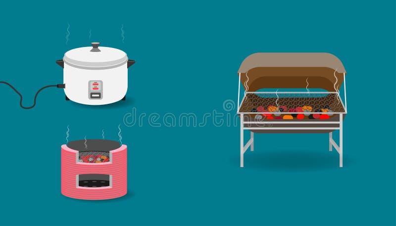 Stellen Sie von der Küchenausrüstung mit Behältertoasterholzkohlen-Reiskocher ein Illustration eps10 lizenzfreie abbildung