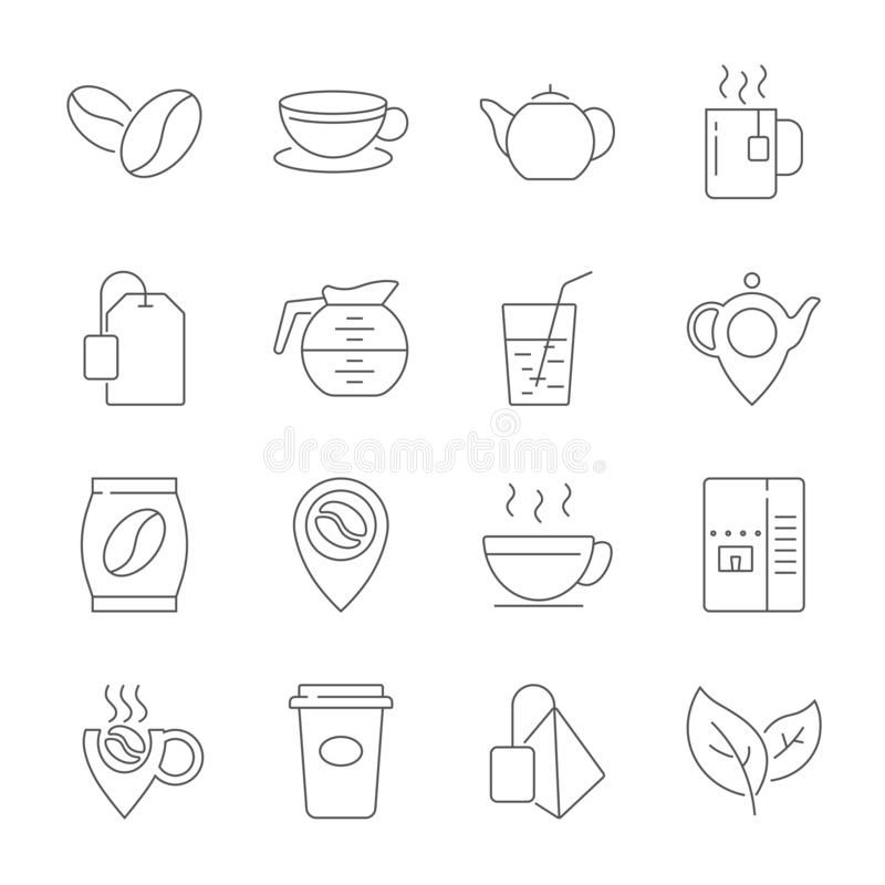 Stellen Sie von der Kaffee-und Tee-Linie Ikonen ein Enth?lt solche Ikonen wie Tasse Tee, Teebeutel-, Kaffeebohnen und gr?ne Teebl stock abbildung