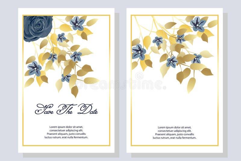 Stellen Sie von der Karte mit Blumen, Rose, Blätter ein Heiratsmarineblau- und -goldkonzept Auch im corel abgehobenen Betrag lizenzfreie abbildung