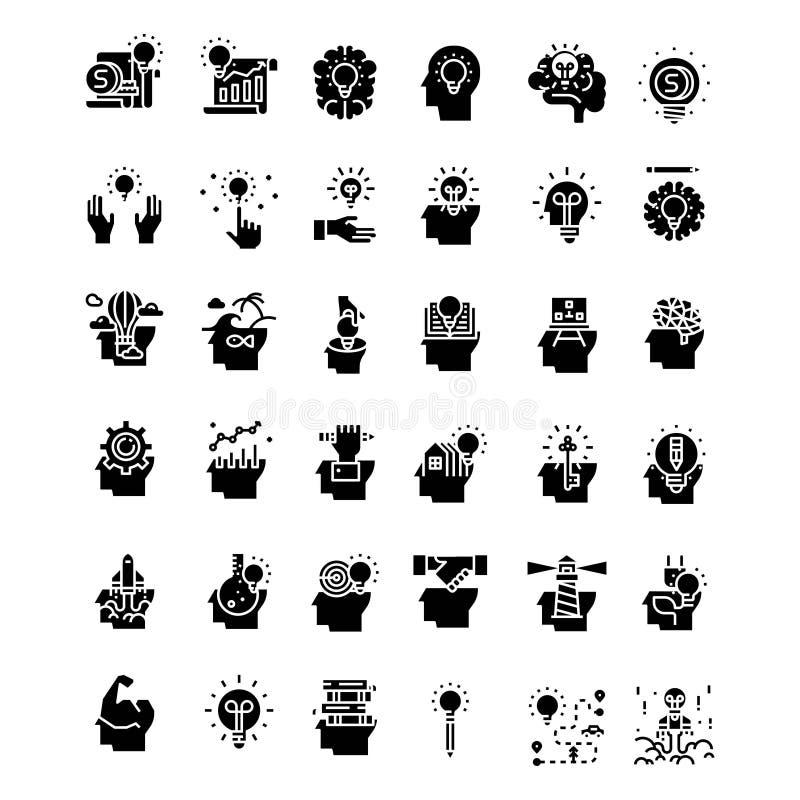 Stellen Sie von der kreativen Ideenikone - Logoentwurfsvektor ein lizenzfreie abbildung