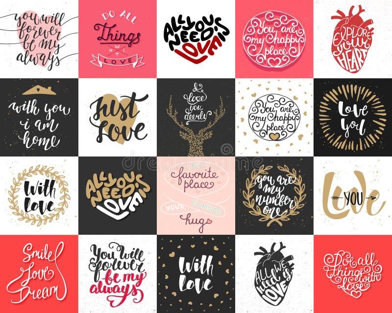 Stellen Sie von der Liebe mit 20 Vektoren und von den romantischen beschriftenden Plakaten, Grußkarten, Dekoration, Drucke, T-Shi lizenzfreie abbildung