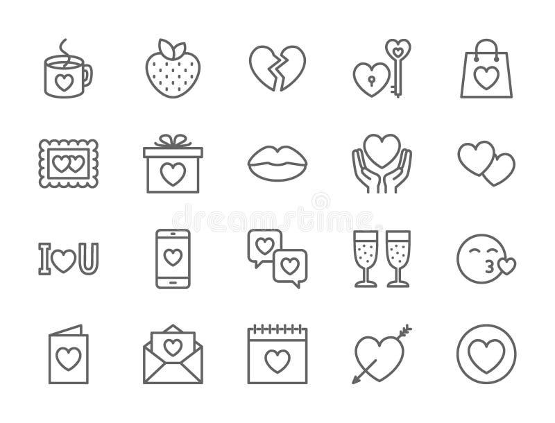 Stellen Sie von der Liebe und von der Valentinsgruß-Tageslinie Ikonen ein Herzen, Geschenk, Mitteilung, Kuss und mehr vektor abbildung