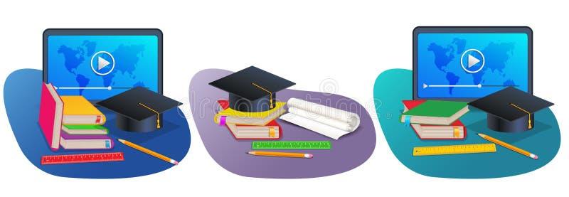 Stellen Sie von der on-line-Ausbildung oder zurück zu Schulbedarffahnen mit Staffelungskappe, Lehrbuch, Bleistift, Bücher, Maßmac stock abbildung