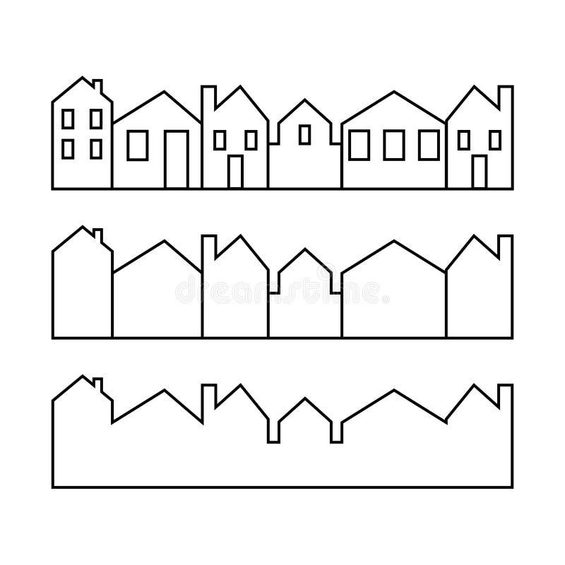 Stellen Sie von der Linie die Ikonen ein, die Haus Vektor-Illustration darstellen Heim und Herd einfache Symbole cityscapes lizenzfreie abbildung