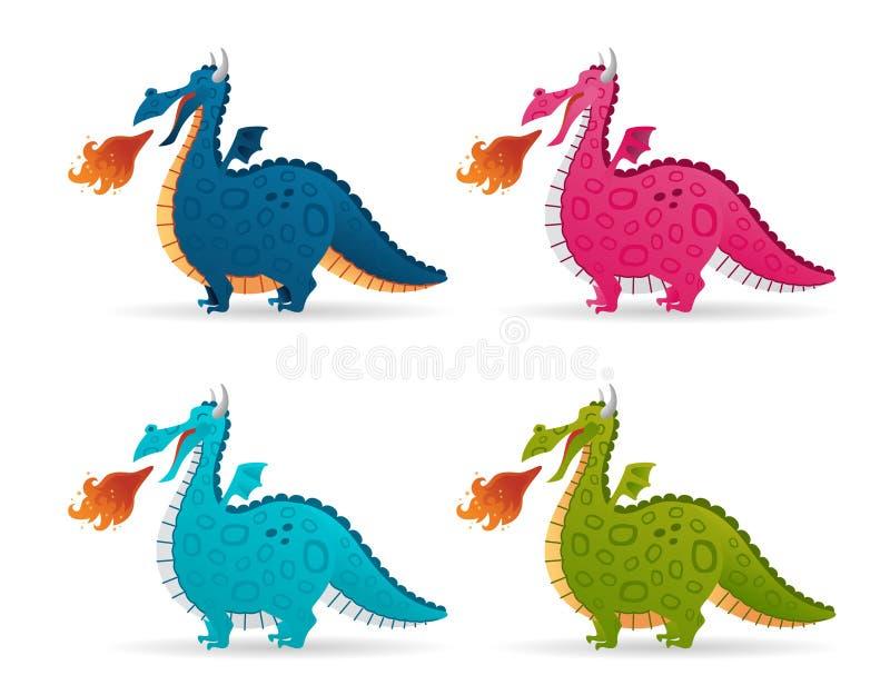 Stellen Sie von der lustigen Feuerdrachekarikatur ein Bunte fliegende nette Dinosaurier der Märchen der Sammlung lizenzfreie abbildung