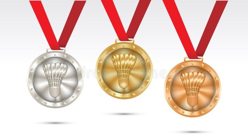 Stellen Sie von der Meisterschaftsvektorillustration der Badmintongoldsilber- und Bronzemedaillen ein vektor abbildung