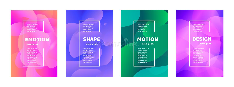 Stellen Sie von der modernen abstrakten Vektorfahne ein Flache geometrische bunte flüssige Form Farbige Entwurfsschablone eines L lizenzfreie abbildung