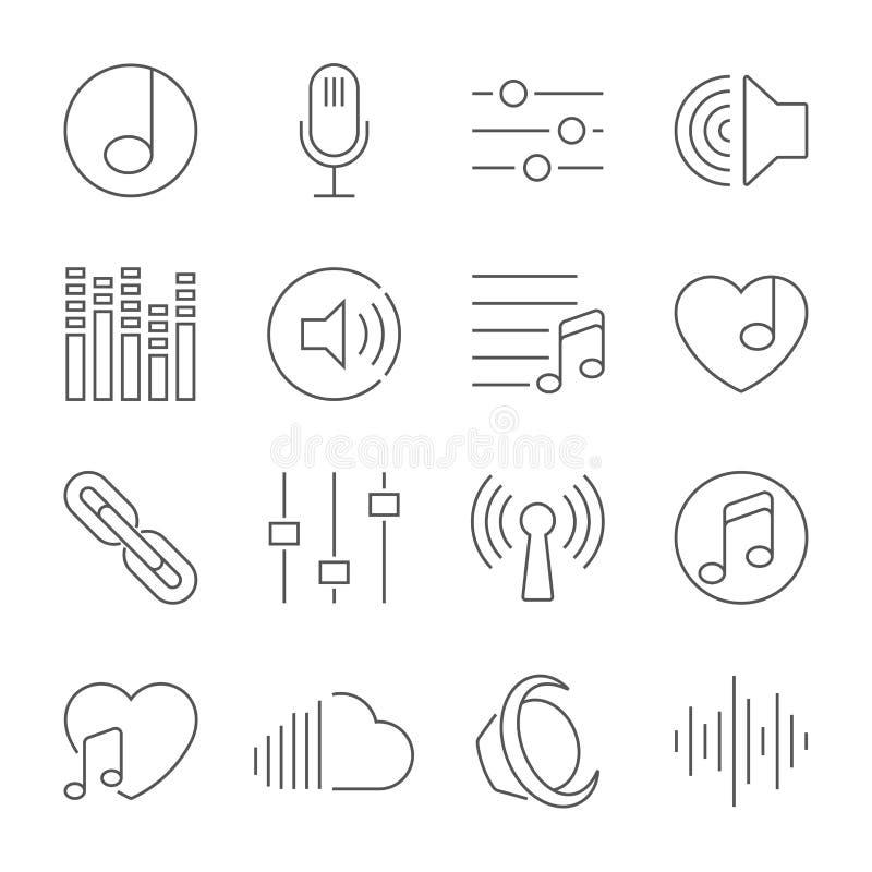 Stellen Sie von der Musik-Vektor-Linie Ikonen ein lizenzfreie abbildung