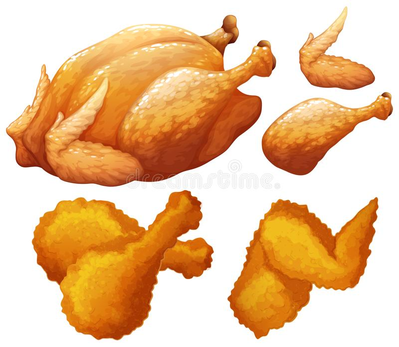 Stellen Sie von der Nahrung ein, die durch Huhn gemacht wird lizenzfreie abbildung