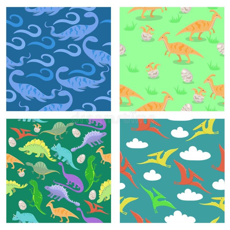 Stellen Sie von der nahtlosen Beschaffenheit mit Dinosauriern ein Für das Scrabbooking Gewebe, Packpapier und andere Regenbogen u vektor abbildung