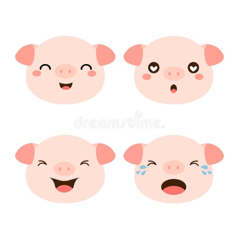Stellen Sie von der netten Schweinkarikatur ein lizenzfreie abbildung