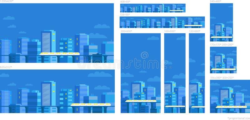 Stellen Sie von der Netzfahnenschablone ein Panoramastadt auf dem blauen Himmel Standardgrößen für die Werbung Zug, der das Licht lizenzfreie abbildung