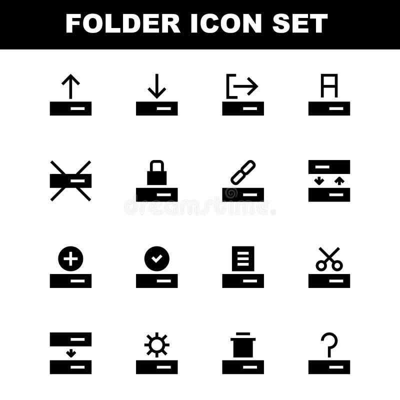 Stellen Sie von der Ordner 32x32 Pixel Glyph-Artikone ein stock abbildung