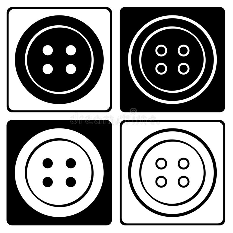 Stellen Sie von der runden Kleidungsknopfschwarzweiss-ikone ein Auch im corel abgehobenen Betrag vektor abbildung