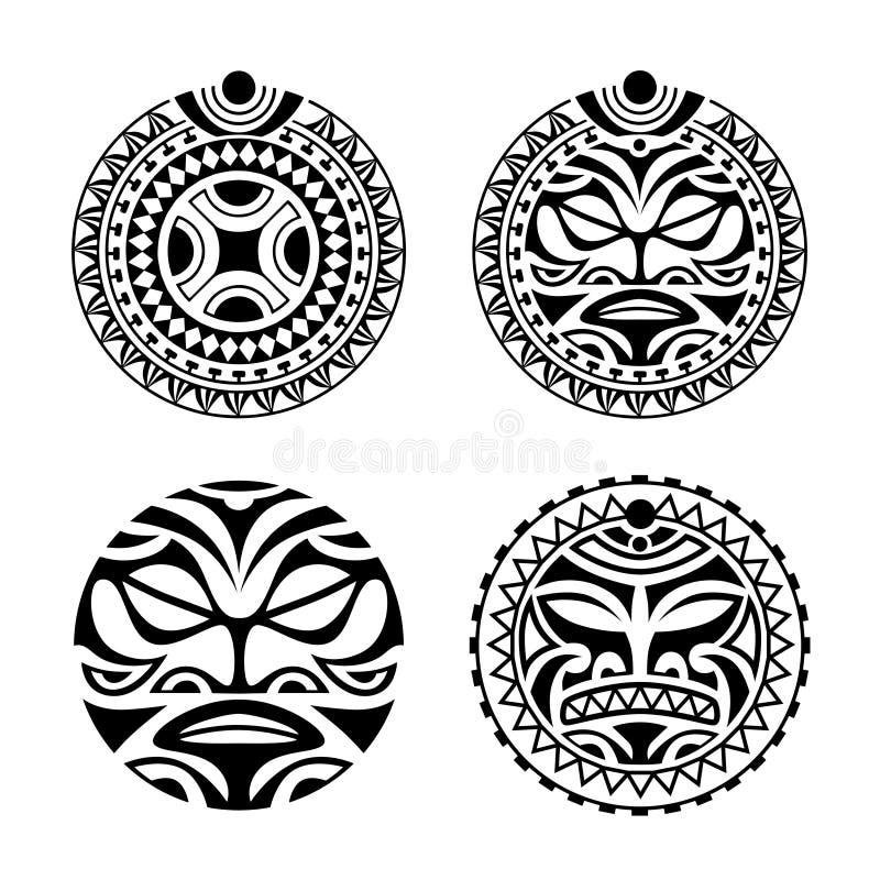 Stellen Sie von der runden Tätowierung verzieren Maori- Art ein vektor abbildung