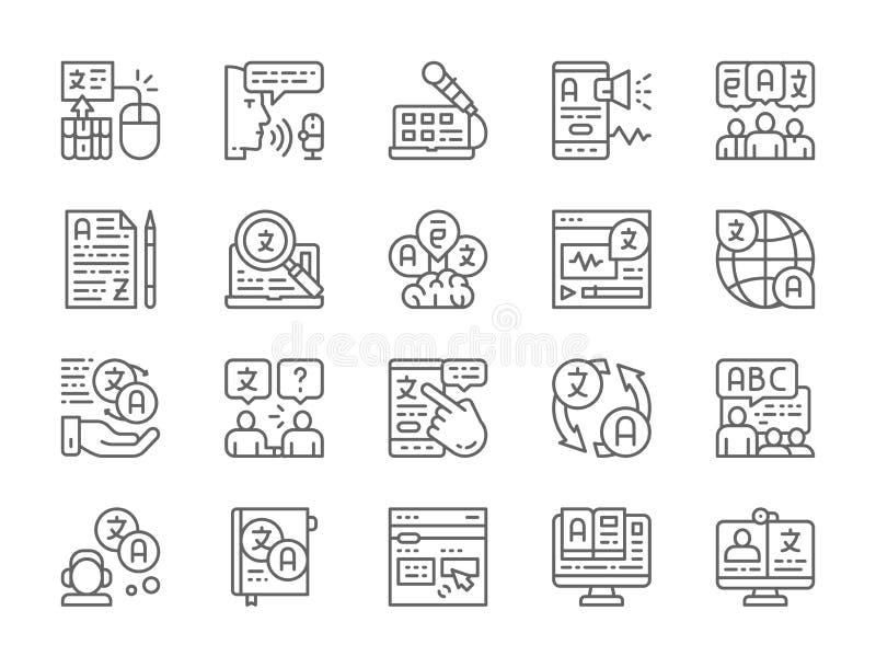 Stellen Sie von der Sprachübersetzungs-Linie Ikonen ein Ausbildung, Schwätzchen, EBook, Radio und mehr vektor abbildung