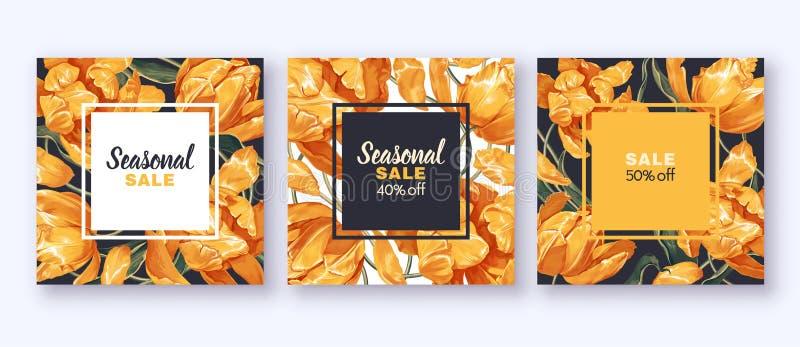 Stellen Sie von der Verkaufsfahne mit gelben Tulpenblumen und -blättern ein vektor abbildung