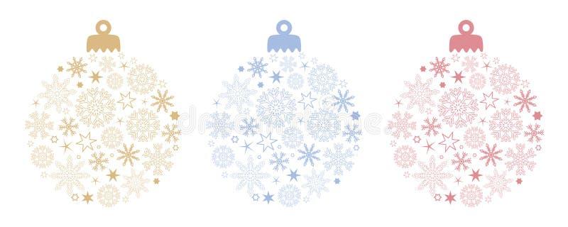 Stellen Sie von der Weihnachtsballdekoration mit Schneeflocken und Sternen in den verschiedenen Farben ein vektor abbildung