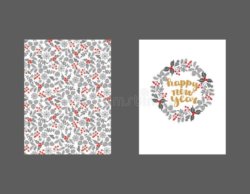 Stellen Sie von der Winter-Weihnachtskarte und von den Gestaltungselementen ein Winter-Weihnachtsrahmen, Vektorillustration Weihn lizenzfreie abbildung